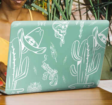 Western pattern laptop decal to beautify your laptop space in style.  The design has different features such as a hat, cactus plant, revolver and more.