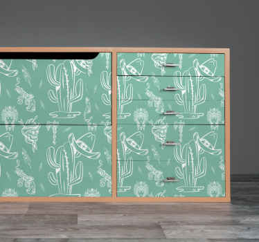 Western pattern furniture decal to beautify your furniture space in cowboy style. The design has different features such as  hat, revolver, and skull.