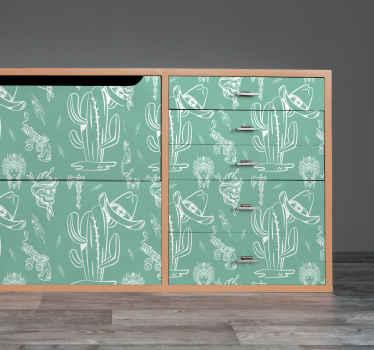 カウボーイスタイルであなたの家具スペースを美化する西部パターン家具デカール。デザインには、帽子、リボルバー、頭蓋骨などのさまざまな機能があります。