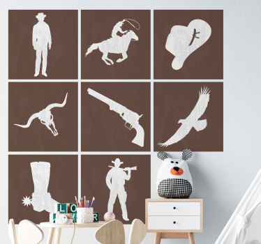 Decorative tile wall sticker with design of various features such as a revolver, bull's head, a cowboy, hat, boot and a cowboy riding on a horse.