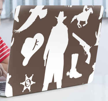 Stand out with your decoration in our decorative cowboy elements featured laptop decal. The product is made with quality vinyl and easy to apply.