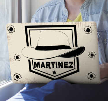 Personalize your laptop space with our decorative cowboy laptop decal made with the design of a cowboy's hat. It is easy to apply and of good quality.