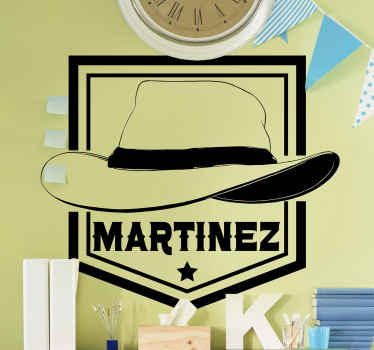 Decorative cowboy hat wall sticker. The design is a cowboy's hat with Personalizable name. It is made with high quality vinyl.