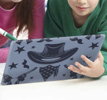 Da un toque personal a tu portátil con este vinilo para laptop con patrones de cowboy en color azul. Elige medidas ¡Envío a domicilio!