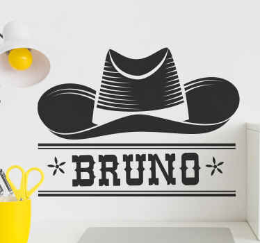 Special decorative cowboy's hat wall sticker with customisable name. The product is customisable in different colour options and it is easy to apply.