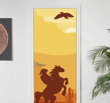 Beautify your door space in this amazing landscape door decal with the design of sunset with a cowboy riding on a horse.