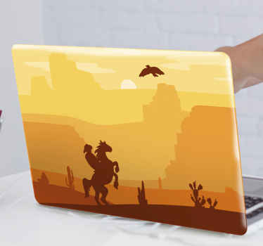 Beautiful landscape laptop decal made with the image of a sunset in the desert with a cowboy riding on a horse. It application is easy.