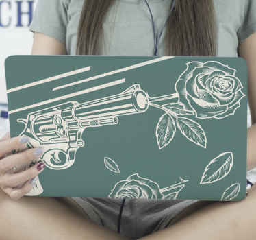 Shoot only roses with love from a revolver in our decorative cowboy laptop decal. The product is made with high quality vinyl.
