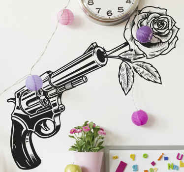 Decorative cowboy home sticker to decorate your space with shooting love of rose. The product is made with high quality vinyl.