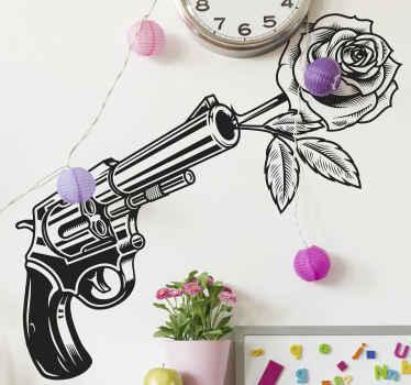 Vinilo para niños de estilo vaquero con revólver disparando una rosa. Apto para todas superficies planas ¡Envío a domicilio!