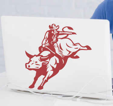 A simple but amazing decorative laptop sticker that is featured with the image of a cowboy riding a bull. The product is made with high quality vinyl.