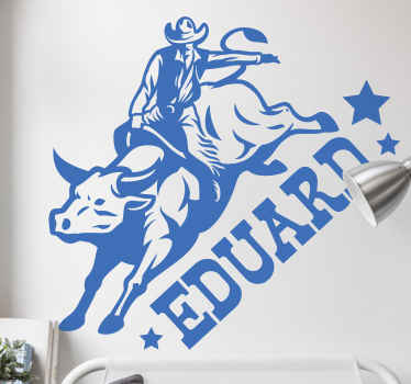 Vinilo habitación juvenil de vaquero montando un toro. Diseño está disponible en diferentes colores y tamaños ¡Envío a domicilio!