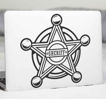 Cowboy decorative laptop decal with an iconic sheriff officer's badge  design. The product is available in different colours and sizes.