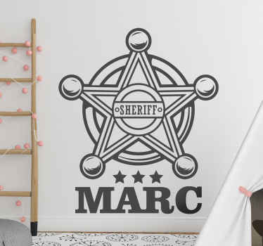 Personalize name sheriff badge wall sticker for  children bedroom decoration. It is made with high quality vinyl and easy to apply.