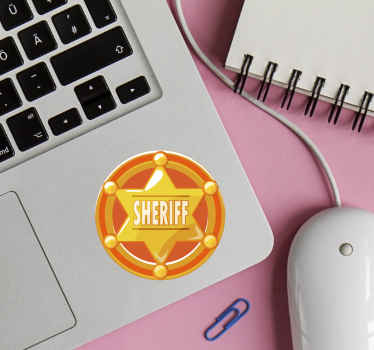 Decorative star laptop decal inscribed with the name ''sheriff'' on a circled background. It is made with high quality vinyl.
