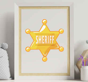 Beautiful sheriff officer's iconic badge wall sticker in golden colour. The product is made with high quality vinyl and easy to apply.