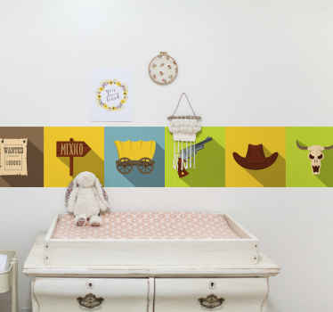 Cowboy tiles pattern decoration wall sticker featured with various cowboy's elements. It is easy to apply and available in different sizes.