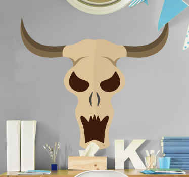 Decorative animal wall sticker with the design of a bull's skull. The design is easy to apply and made of high quality vinyl.