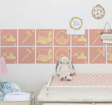 Beautiful tile wall sticker made with the design of a cowboy's wagon. The product is mad of good quality and it is self adhesive.