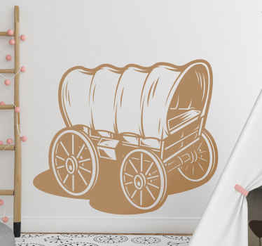 An amazing home wall sticker with the design of a cowboy's wagon to decorate your space in western style. The product is made of good quality.