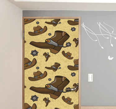 Leave a cowboy's impression on your door space in our featured cowboy door decal. It is made with high quality vinyl and easy to apply.