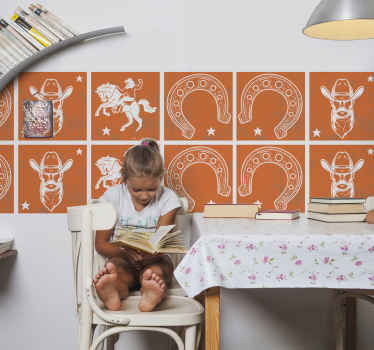 An amazing cowboy featured tile wall sticker to decorate any wall space in the home.  A design featured with elements that depicts cowboy's identity.