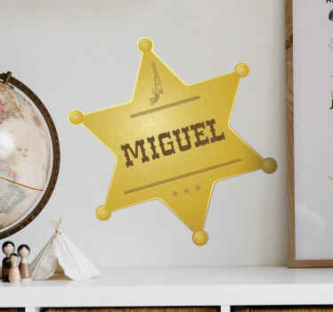 Fantastic custom name home wall decal made with the design of a Sheriff officer's badge. The product is made with high quality vinyl.