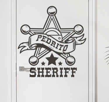 autocolante decorativo da porta do ícone feito com o produtodo distintivo de um oficial do xerife. é personalizável com qualquer nome de escolha.