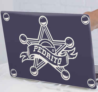 Decorative iconic sheriff badge decal to beautify your laptop space with sheriff officer's command. The product is made of high quality vinyl.