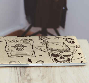 A perfect iconic decorative laptop sticker for cowboy lovers. The product host a cowboy's hat and skull, revolver and a wanted bandit notice.