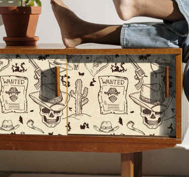 An amazing iconic furniture sticker designed with different elements that identifies a cowboy.  The product of made with high quality vinyl.