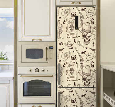 Beautiful western icon fridge door sticker made with the design of different elements that identifies a cowboy. The product is made of high quality.