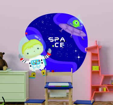 Un increíble vinilo para niños con astronauta en el espacio dibujado con el que tu hijo dejará volar su imaginación ¡Envío a domicilio!