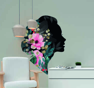 Vinilo pared salón de silueta femenina muy bonita con flores de colores para embellecer cualquier estancia del hogar ¡Envío a domicilio!