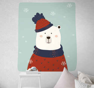 Vinilo para niños con oso polar estilo nórdico con vestimenta escandinava para que decores el cuarto de tu pequeño ¡Envío a domicilio!