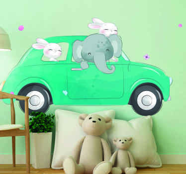 Beautiful wall art decoration of a car with elephant and bunnies. An amazing design to decorate the bedroom of kids. Easy to apply.