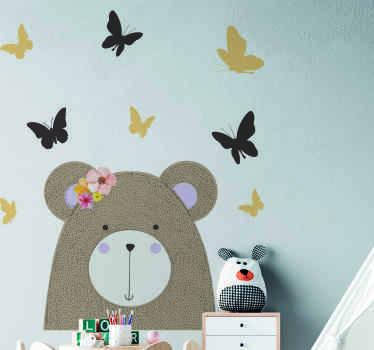 Beautiful animal wall sticker to decorate the bedroom space of children, The design is a bear with pretty butterflies. It is easy to apply .