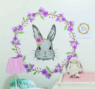 Beautiful bunny animal wall art decal to decorate the bedroom of your child. A pretty decoration with colorful  floral to light up a girl bedroom.