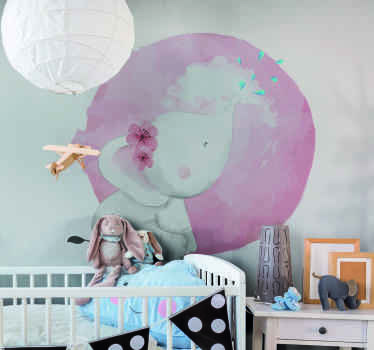 An amazing wild elephant  kids wall art decoration to beautify the bedroom of your young one.  The product is made with  high quality vinyl.