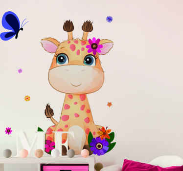Cute giraffe animal sticker with pretty colorful flowers to decorate the bedroom of your young one. The product is made of high quality vinyl.