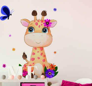 Niedlicher Giraffentieraufkleber mit hübschen bunten Blumen, zum des Schlafzimmers ihres jungen zu verzieren. Das Produkt besteht aus hochwertigem Vinyl.