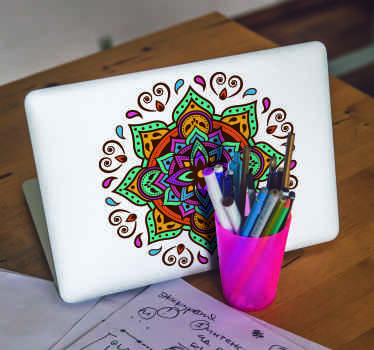 Beautiful decorative mandala sticker for laptop design in multi colourd fascinating style. The product is easy to apply and self adhesive.