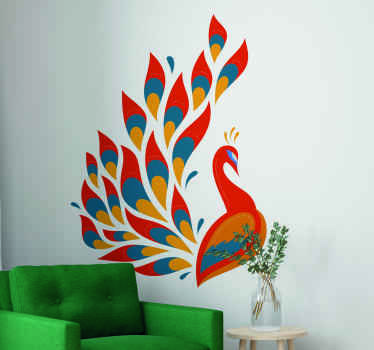 Decorative tenango colour peacock bird wall sticker suitable for any space. It is made of high quality vinyl and it application is easy.