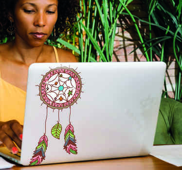 A simple colorful ornamental laptop decal design of a dream catcher to decorate your laptop to stand out in a special way.  It is easy to apply.