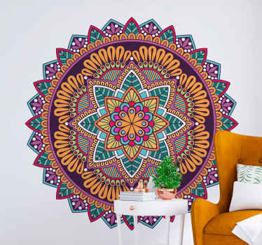 Colorful decorative mandala wall sticker to decorate a living room or bedroom space in a house. It is made of high quality vinyl and easy to apply.
