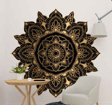 An elegant decorative mandala wall art sticker to beautify any space with an ornamental touch. the product is made with high quality vinyl.
