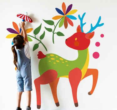Ein erstaunlicher hirschtier-wandaufkleber für Kinderzimmer Dekoration. Das Design ist mit zierblumen im tenango-stil versehen.