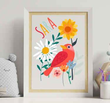 Flamingo dier en planten met naam sticker in tenango stijl om de slaapkamer van uw kind in een mooie look te versieren. Het product is verkrijgbaar in elke gewenste maat.