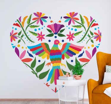 Een prachtige geometrische hartvormige muursticker met verschillende vogels in tenango stijl. Het is gemakkelijk aan te brengen en zelfklevend.
