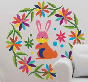 Konijn stijl boerderijdier muursticker om u huisruimte te verfraaien. Het ontwerp is gemaakt op ronde achtergrond met bloemenprints.